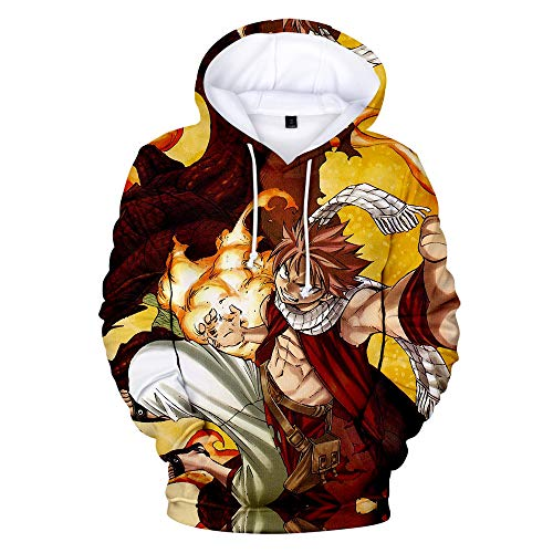 Man Woman Anime 3D Prints HD Pullover Jumpers Hoodies Leisure Keep Warm Sweatshirt Long Sleeve Sweater Unisex Cosplay Novel T-Shirt Coat Jacket Top Jacket with hat Fairy Tail XL