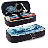 QQIAEJIA Estuche para lápices de cuero de ballena acuarela con cremallera,boceto de peces oceánicos,acuario de peces rojos,estuche para bolígrafos azul,estuche para lápices 682