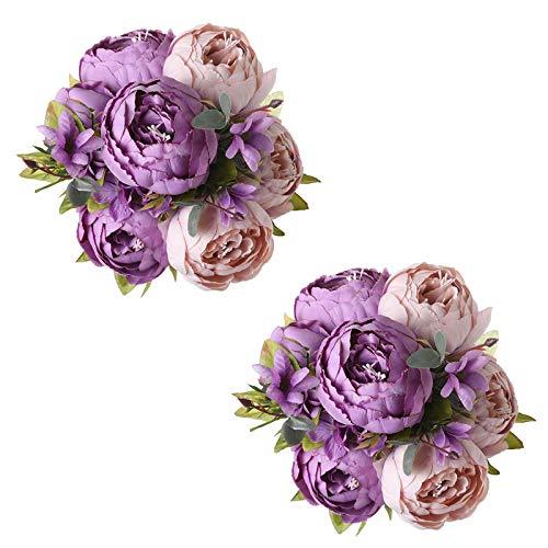 Tifuly 2 Piezas de Ramos de peonía Artificial, Ramo de Flores de imitación de peonías de Seda realistas para la decoración del Banquete de Boda en el hogar, arreglos Florales (Nuevo Púrpura)