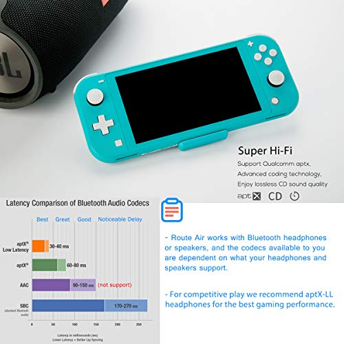 GuliKit Route Air Wireless Bluetooth Audio Adapter for the Nintendo Switch,Switch Lite - Blue