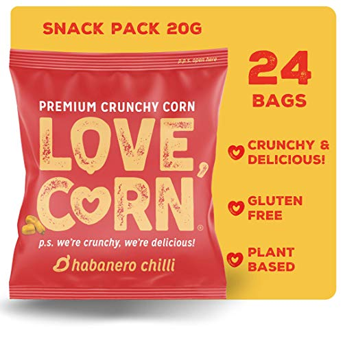 LOVE CORN: Habanero Chilli | Roasted Crunchy Corn - Gluten-Free - Plant Based & Vegan - Healthy Snack - Low Calorie - (Box of 24 Bags, 20g Each)