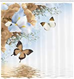 XCBN Cortina de Ducha de Lirio de Mariposa monarca y Flores Silvestres Azules y Blancas, decoración de baño, Cortina de Ducha Impermeable A6 180x200cm