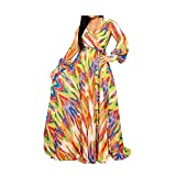 lvenzse Womens Maxi Dress Boho Chiffon Floral Printed Long Dresses V-Neck Plus Size (FBA) (XX-Large, A-Longsleeve-Orange)