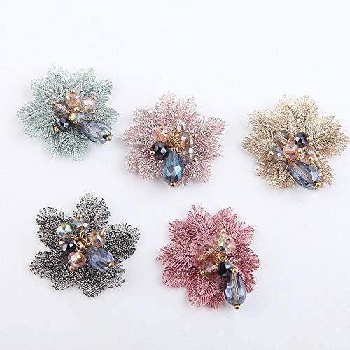 Vintage bordado cuentas de cristal parche broche flor pendientes colgantes horquilla accesorios para el cabello-1