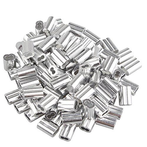 Aluminium-Würgeklemmen mit Doppelhülsen/Löchern für Kabel / Drahtseil mit 1,5 mm, Silberton, 100 Stück