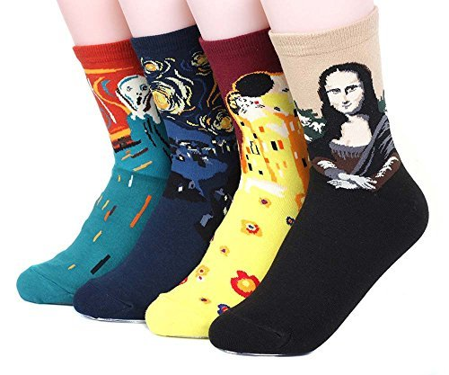 Womens Art Patterned Casual Crew Socks - Famous Painting Collection 4 Pack, Assorted, One Size