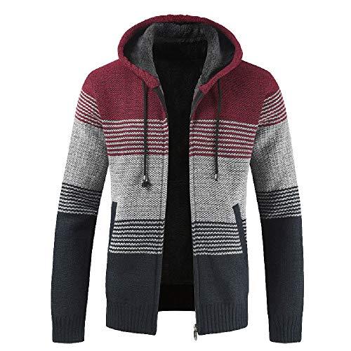 Veste à Capuche pour Hommes Automne Hiver Packwork Tricot Cardigan à Manches Longues Manteau