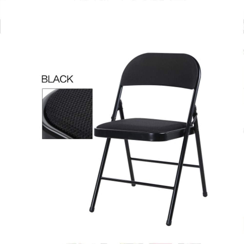 YCSD Chaise Pliante Rembourrée en Tissu De Luxe - Chaise De Repos pour Dossier D'ordinateur De Bureau À La Maison avec Cadre Métallique Robuste (Couleur : Noir) Noir