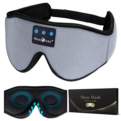 Sleep Headphones 3D Bluetooth Sleep Mask, MUSICOZY Wireless Music Eye Mask with Sleeping Headphones for Side Sleepers, Air Travel, Meditation, Built-in Ultra Soft Thin Speakers Microphone Washable