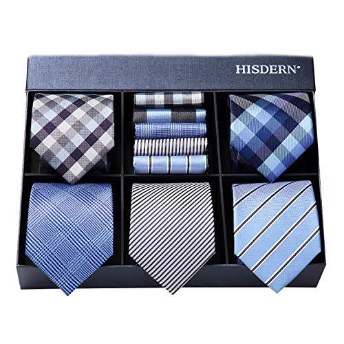 HISDERN Lote 5 PCS Clasico Formal Elegante Hombres Corbata de seda Set Corbata & Panuelo de bolsillo - Conjuntos multiples
