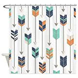 JOOCAR Cortina de ducha de diseño, diseño de flechas tribales, diseño azul marino, naranja, tela impermeable para decoración de baño con ganchos