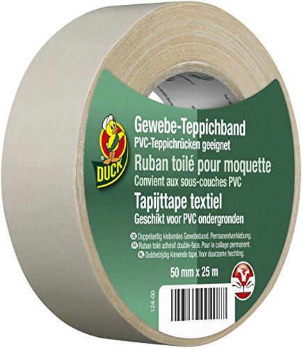 DUCK Gewebe Teppichband – Doppelseitiges Verlegeband zur Verklebung von Teppichen – Gewebeband zum Befestigen am Teppichrücken – 50mm x 25m