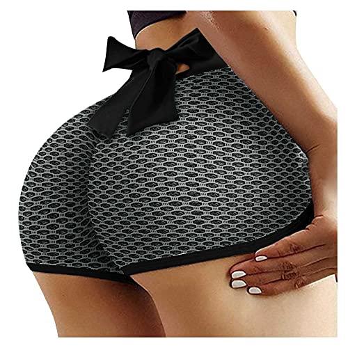 Junjie Leggings Mujer Push Up con Bowknot Leggins Textura de Panal Pantalones Cortos Deportivos Mallas de Yoga Cintura Alta Shorts de Deporte Absorbentes y Transpirables Yoga y Pilates