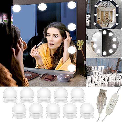 LED Spiegelleuchte, Schminktisch Beleuchtung, 10 LED Schminklicht Hollywood Stil Dimmbar, Spiegellampe USB-Kabel Make up Licht Spiegel Lichter für Kosmetikspiegel Schminktisch Leuchte Licht