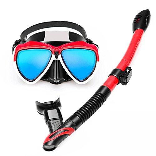 Gafas Gafas de Buceo, Full Snorkel seco, Electroplated Blue Light HD Antiniebla Lente, Snorkel Full Face Mask Durable Gafas (Color : Red)