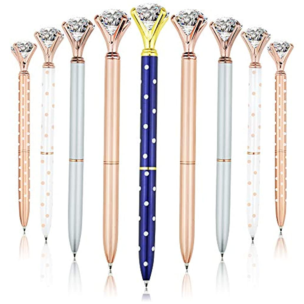 15 Pieces Big Diamond Rose Gold Pen Rhinestones Crystal Metal Ballpoint Pens for Women,Kids,Girls,Co-Workers and Teachers, School and Office Supplies,Black Ink