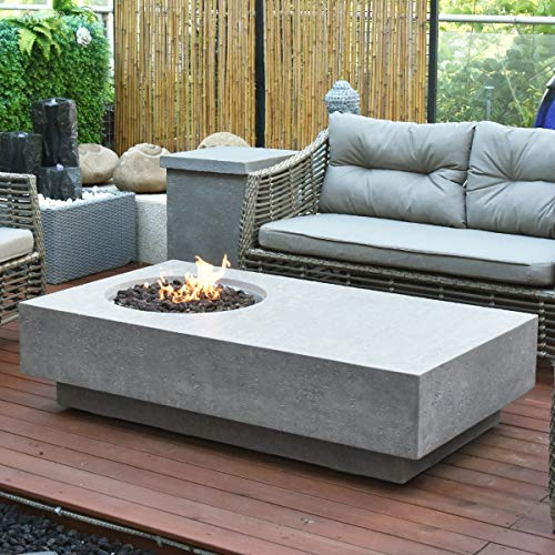 Elementi Metropolis HPC Concrete Rectangular Fire Table in Light Grey
