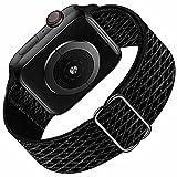 Hilimny Solo Loop Compatible con Apple Watch Correa 38mm 40mm, Deportivas de Nailon Elástico Trenzado Para Correas de Repuesto Compatible con iWatch SE Series 6 5 4 3 2 1, Deep Black 38mm 40mm