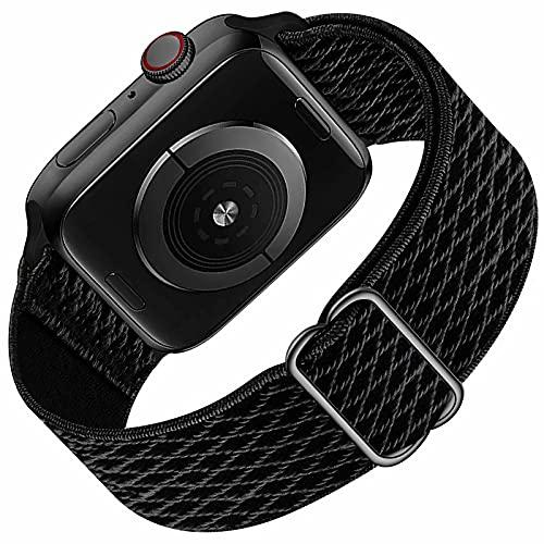 Solo Loop compatibile con cinturino Apple Watch 42mm 44mm per uomo donna, cinturino di ricambio sportivo in nylon elastico intrecciato per serie IWatch 6/5/4/3/2/1 / SE, Deep Black 42 mm 44 mm