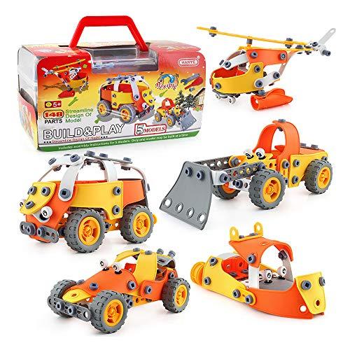 Sipobuy Ensamblaje de Bricolaje Juguetes de construcción 148 PCS, 5 Modelos de vehículos, Juego de Bloques de construcción de educación temprana Stem Learning Screw Toys for Kids