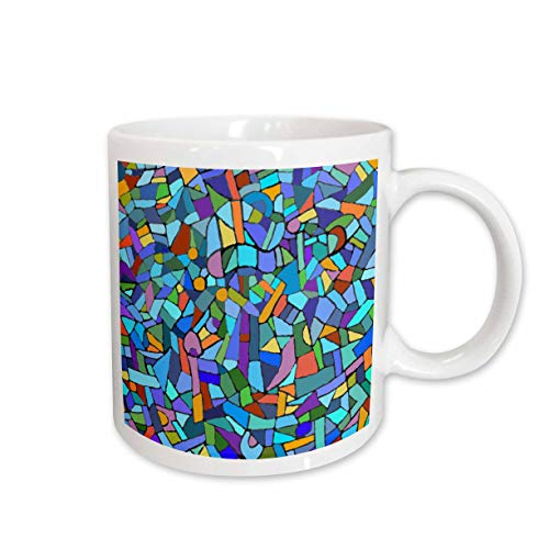 3dRose Vibrant and Colorful Blue Gaudi Inspired Mosaic Pattern, Stain Glass Like, Ceramic Mug, 15-Oz