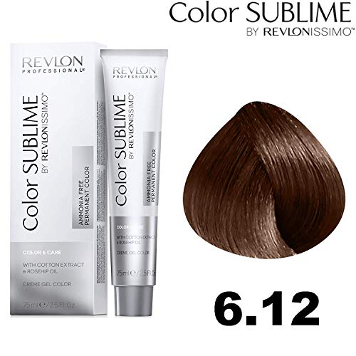 Revlon Professional Color Sublime By Revlonissimo Color&Care Ammonia Free Permanent Color 6.12, Dunkelblond Irisierend, 1er Pack(1 x 60 ml)
