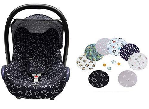 Sweet Baby ** 100% Jersey Fit ** KomplettSet Schonbezug/Hoody Verdeck/Gurtpolster für Babyschale Maxi-Cosi Cabrio, Pebble und andere (3er Komplettset, Black Cat)