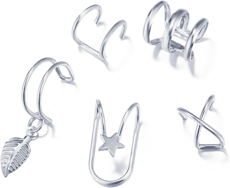 WAZG SYBLD Fashion Earrings Leaf Clip Earrings Female Non-Piercing Fake Cartilage Earrings (Metal Color : E01989)