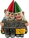 DWK – Growing Old Together – Gartenzwerg Liebespaar Sammlerfigur Beste Freunde Liebhaber Romantische Statue Indoor Outdoor Garten Terrasse Home Decor, 14,6 cm