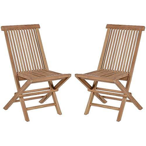 KaYu Gartenstühle aus massivem Teakholz, zusammenklappbar, 2 Stück Klappstuhl für draußen, Teakholz massiv