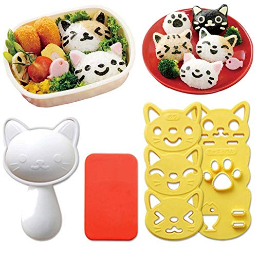 1 Set Sushi Mold Rice Ball Mold Cartoon Cat Pattern Sushi Bento Nori Kitchen Rice DecorCute Smile Cat Sushi Rice Mold Decor Sandwich DIY ToolBento Accessories