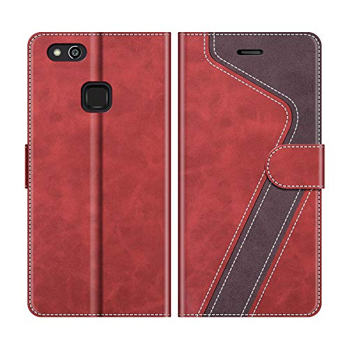MOBESV Handyhülle für Huawei P10 Lite Hülle Leder, Huawei P10 Lite Klapphülle Handytasche Hülle für Huawei P10 Lite Handy Hüllen, Modisch Rot