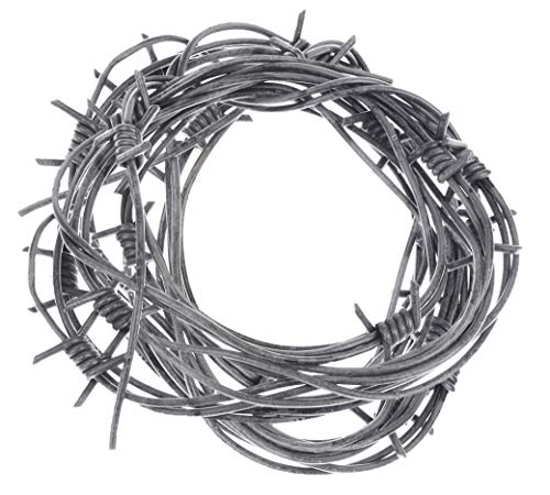 Nicky Bigs Novelties 24' Fake Silver Barbed Barb Wire Halloween Decoration Wire Prop Garland