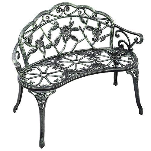 CASART Garden Bench, Antique Rose Style Porch Park Chair Seat, Cast Iron Aluminum Outdoor Leisure Bench Loveseat