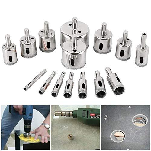ZANYUYU Juego de 15 cortadores de sierra de diamante de 3 a 42 mm, para azulejos, cerámica, vidrio, porcelana, mármol.