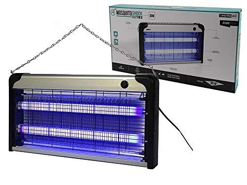 Megashopitalia Zanzariera Elettrica Stermina Insetti Ammazza Zanzare Mosche 2 Lampade 30 Watt Copertura 100mq