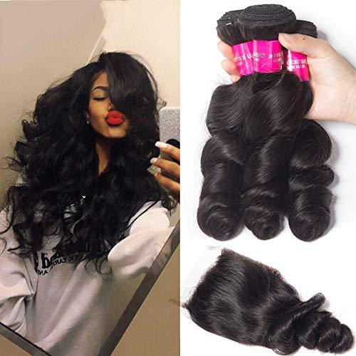 Brésil Cheveux Weave Bundles avec fermeture Remy cheveux humains 3 Bundles avec fermeture loose Bundles vague avec fermeture,18inches