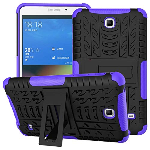 DETUOSI for Samsung Tab 4 7 inch Case, [Shock-Absorption] High Impact Resistant Heavy Duty Armor Defender Cover with Kickstand Feature for Samsung Galaxy Tab 4 7.0' 2014 (SM-T230/T231/T235) #Purple