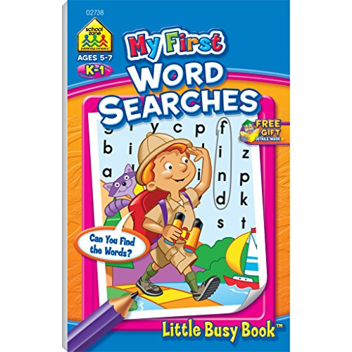 School Zone - My First Word Searches Workbook - Ages 5 to 7, Kindergarten to 1st Grade, Activity Pad, Search & Find, Word Puzzles, and More (School Zone Little Busy Book Series)