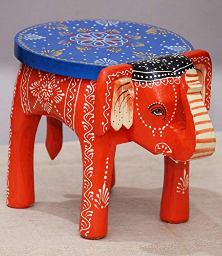 JH Gallery Handcrafted and Hand-Painted Colorful Wooden Elephant Stool, Cum Side Table, Night Stand, Animal Plant Stool for Home/Office/Living or Bedroom Décor (Orange)