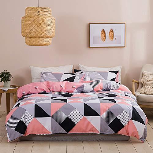 Bettwäsche Kariert Rosa Pink 135X200 4teilig Schwarz Weiß Grau Bettbezug Set Karo 100% Weiche Microfaser Wende Bettdeckenbezug - 2 Bettbezüge 135 x 200 cm + Kissenbezüge 80 x 80 Reißverschluss ,YXI