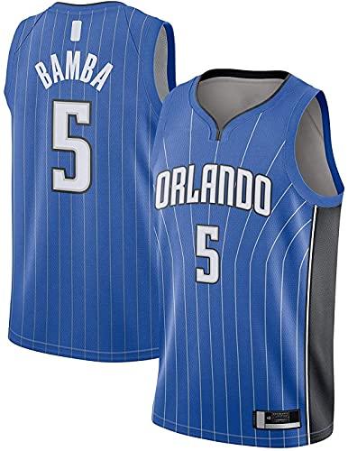 ZMIN Jerseys de Baloncesto de los Hombres, Orlando Magia # 5 Bamba Baloncesto Uniformes Sin Mangas Camiseta Vest Poja Top,Azul,S
