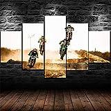 5 Panel/Set Lienzos Handart Cuadro En Lienzo Cinco Partes HD Clásico Óleo Impresiones Decorativas Cartel Arte Pared Pinturas Hogar Lienzo Concurso De Bicicletas del Desierto Sucio