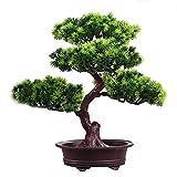 INGHU Bonsaï Artificiel - Arbre de Plante en Pot de Simulation en Plastique - Mini Ornement accueillant pour Arbre de pin Vert pour Le décor de Bureau