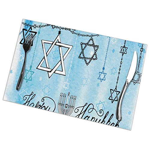 Allgobee Placemats Set of 6 Heat-Resistant Placemats Stain Resistant Anti-Skid Washable Blue Candle Happy Hanukkah Table Mats
