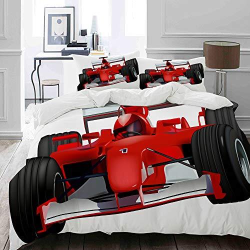 MIGAGA Bettwäsche-Set, Mikrofaser,Formel-Rennwagen mit dem Driver Automobile Motorized Sports Theme Strong Engine,1 Bettbezug 135 x 200cm+ 2 Kopfkissenbezug 80x80cm