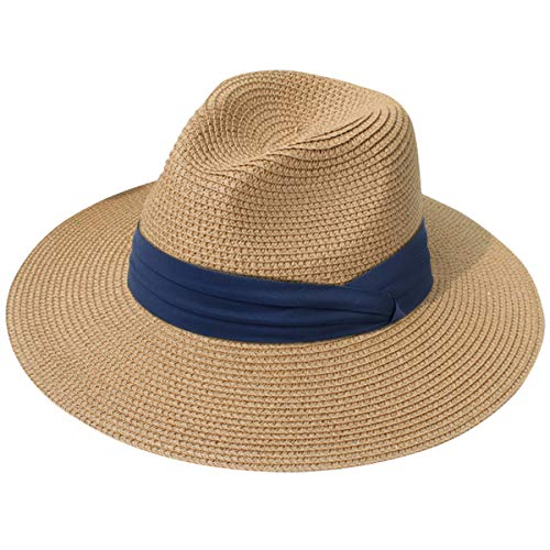 Lanzom Women Wide Brim Straw Panama Roll up Hat Fedora Beach Sun Hat UPF50+ (Z-Navy Ribbon Brown)