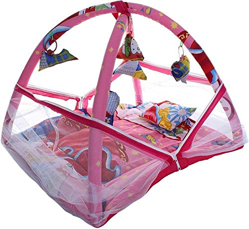 Richberg001 Baby Kick and Play Gym Mattress with Mosquito Net and Bedding Set (Pink, 0-12 Months)