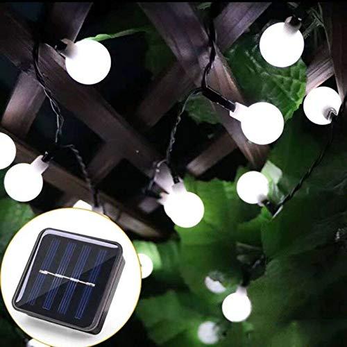 Cadena de luces solares, IP65, impermeable, 50 LED, guirnalda de luces solares para árbol de Navidad, dormitorio, jardín, boda, luces decorativas de color blanco frío