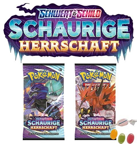 ★ Pokémon Schwert und Schild Schaurige Herrschaft- (2X Booster) - Deutsch zusätzlich 1 x Sticker-und-co Fruchtmix Bonbon
